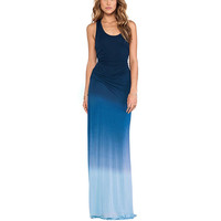 Blue Asymmetrical Maxi Dress