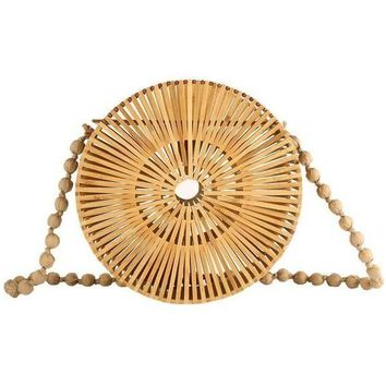 Round Bamboo Handbag - Natural