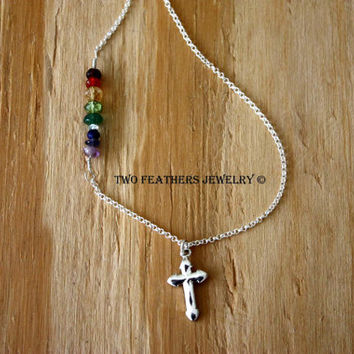 Gemstone Necklace - God's Promise - Rainbow Necklace - Sterling Silver Necklace - Cross Necklace - Dove Necklace - Fine Jewelry - Minimalist