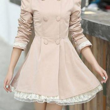Beige Button Design Layered Long Sleeve Trench Coat