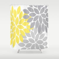 Yellow Gray SHOWER CURTAIN Custom MONOGRAM Personalized Yellow Gray Bathroom Decor Flower Burst Pattern Beach Towel Plush Bath Mat Made Usa