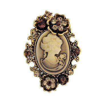 Cool Hot Selling Retail!! Antique Bronze Plated Victorian Style Queen Cameo Pins Brooches Women Party Costume BroachesAT_93_12