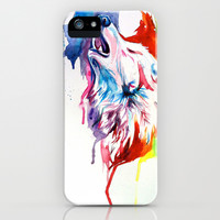 Rainbow Wolf iPhone & iPod Case by Katy Lipscomb