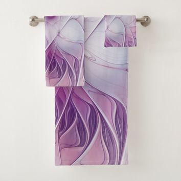 Beautiful Pink Flower Modern Abstract Fractal Art Bath Towel Set