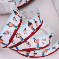 Cute Agnes Despicable ME on White  Printed Grosgrain Sewing craft Ribbon