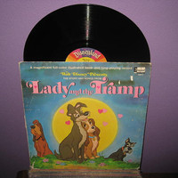 EARLY SPRING SALE Vinyl Record Disney's Lady and the Tramp Story & Songs Book and Lp 1969 Children's Classics