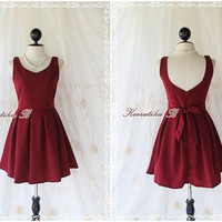 A Party Cutie Dress - New A Party Dress Collection Dark Maroon Sweet Lovely Cocktail Party Prom Wedding Bridesmaid Dress XS-S