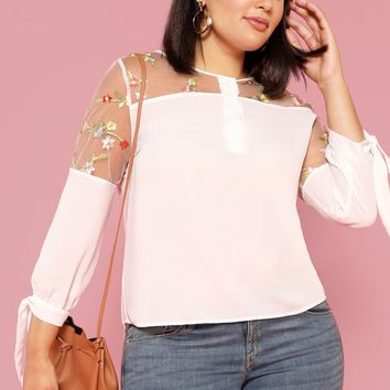 Plus Embroidery Mesh Insert Curved Dip Hem Blouse