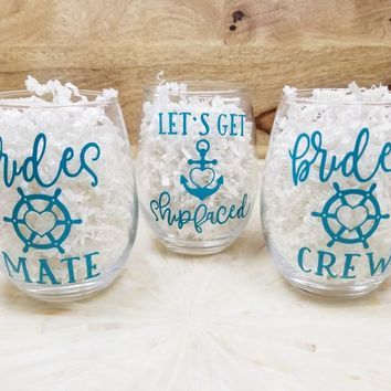 Nautical Theme Bachelorette Party Wine Glasses