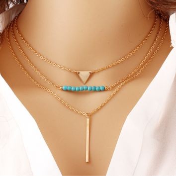 Multi - layer geometric triangle turquoise pendant necklace temperament wild metal chain clasp chain jewelry