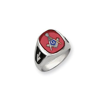 14k White Gold Men's Synthetic Ruby Masonic Ring