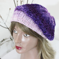 Hand-knitted purple hat, Pink Purple hat, Purple winter hat, Handmade hat, Hand knitted woolen berets, hats slouchy, Boho purple hat