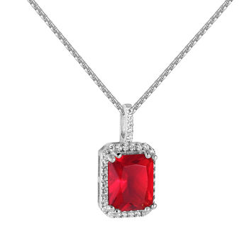 Sterling Silver Solitaire Ruby Pendant Lab Diamonds Hip Hop 24 Inch Necklace Chain