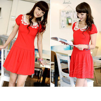 YESSTYLE: 59 Seconds- Short-Sleeved Crochet Collar Dress - Free International Shipping on orders over $150