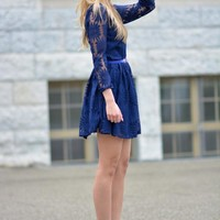 Dark Blue Lace Dress | SPREDFASHION