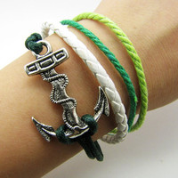 silvery Anchor Pendant Leather and Ropes Women by braceletcool