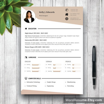 Resume Template 5 pages | CV Template + Cover Letter, References and Portfolio for MS Word | Curriculum Vitae | Instant Digital Download CV