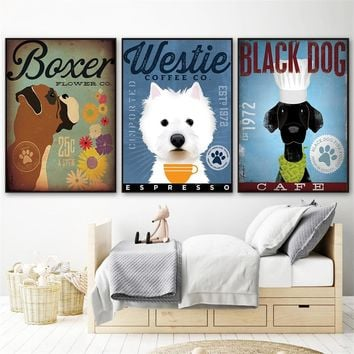 Westie Black Dog Art Coffee Wall Decor Cute Poster Animals Canvas Painting Home Decor Scandinavian Living Room Decoration