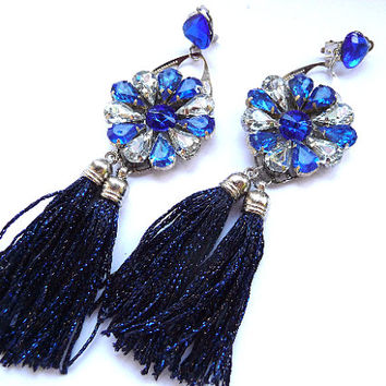 Blue tassel earrings, blue fringe earrings, blue earrings, deep blue earrings, round earrings, suncatcher earrings, suncatcher, Statement
