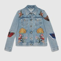 Gucci Women Casual Fashion Flowers Butterfly Letter Embroidery Cardigan Long Sleeve Denim Jacket Coat