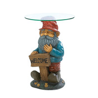 Garden Gnome Glass Accent Table