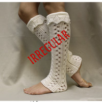 Leg Warmers irregular, knit, basic, boots, socks, cuffs,  Cream  LW35ir