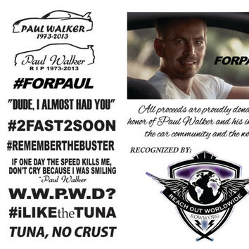 Paul Walker Vinyl Decals