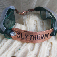 SLYTHERIN Harry Potter inspiredhandstamped copper by suzyandleo