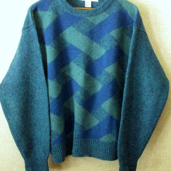 Oversize Sweater Vintage 80s 90s boyfriend unisex geometric pattern ski sweater mens wool crewneck hipster preppy teal blue turquoise