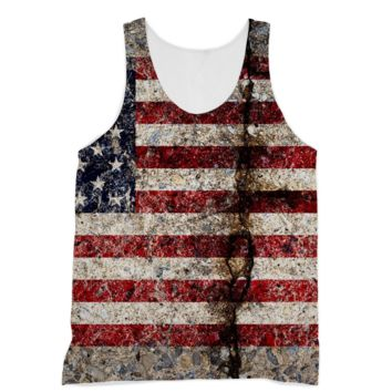 Rustic Cracked Concrete American Flag American Apparel Sublimation Vest