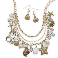 Gold Tone Sea Shore Themed Fashion Necklace and Earring Set