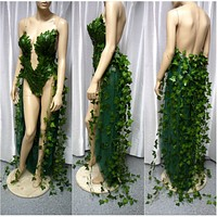 Plunge Poison Ivy Monokini Gown Dress Costume Rave Cosplay Halloween