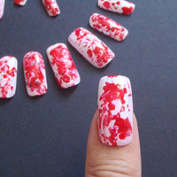 halloween false nails blood splatter gothic wedding horror fake nail red white square halloween vampire zombie creepy spooky lasoffittadiste