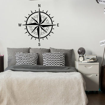 Compass Rose Wall Decal Nautical Bedroom Decor- Nautical Decal Compass Wall Art Travel Wall Decor- Compass Decal North South East West #60