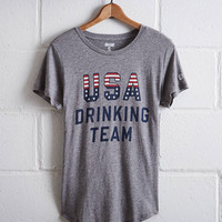 Tailgate Women's USA Drinking Team T-Shirt, Heather Gray