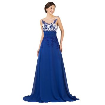 Sexy Backless Lace Embroidery Blue Long Evening dress Gown Special Occasion Women Formal Evening Dresses Robe de Soiree Longue