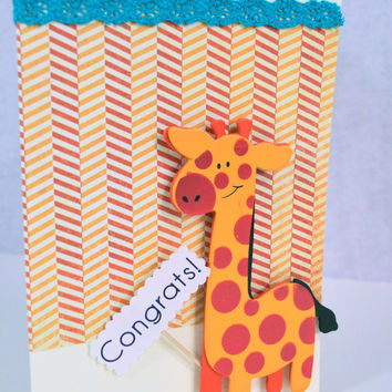Funny Giraffe Congrats On New Baby card
