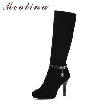 Meotina Women Knee High Boots Platform High Heels Winter Boots Zipper Thin Heels Sexy Ladies Boots Autumn Black Botas Mujer