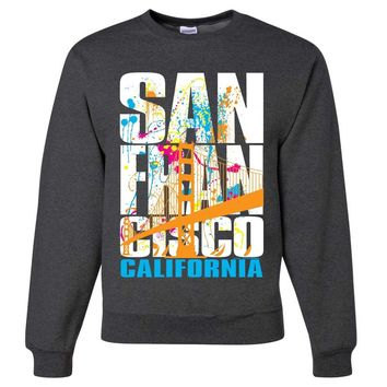San Francisco California Neon Pastel Crewneck Sweatshirt