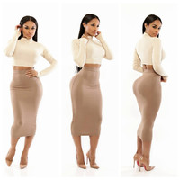 White Long Sleeve Cropped Top and Nude Bodycon Midi Skirt