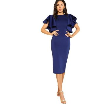 Blue Short Sleeve Kneelength Party Dress