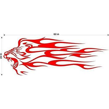 Lion Animal Flames Motor Cross Street Track Motorcycle Racing Trailer Decals Stickers Mural One Color 2 Graphics AF04