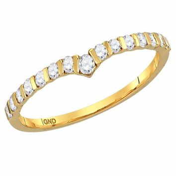 10kt Yellow Gold Women's Round Diamond Chevron Stackable Band Ring 1/4 Cttw - FREE Shipping (US/CAN)