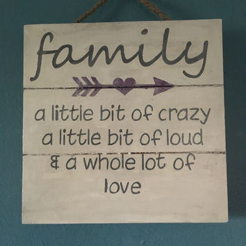 "Family Pallet Sign with Rope Hanger, 12""x12"" Hand Painted Off White With Gray Lettering"
