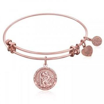 ac NOVQ2A Expandable Bangle in Pink Tone Brass with St. Christopher Protection Symbol