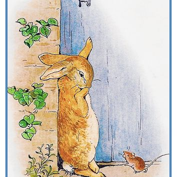 Peter Rabbit Answers the Door inspired by Beatrix Potter Counted Cross Stitch Pattern