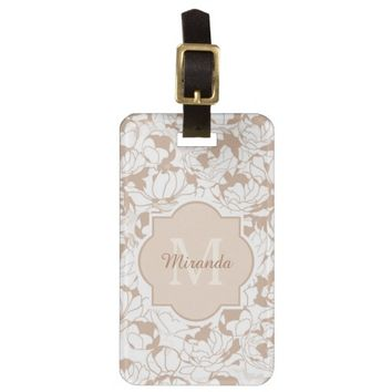 Modern Tan White Floral Girly Monogram With Name Luggage Tags
