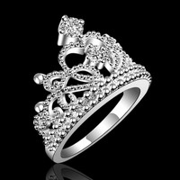 TOMTOSH Fashion jewelry silver plated vintage jewelry Aliancas Casamento austrian Crystal Crown Rings Environmental Jewelry