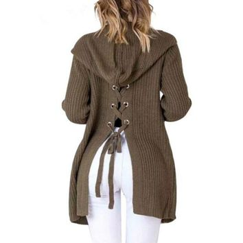 Loose Long Sleeved Hooded Cardigan Sweater Coat