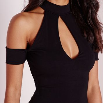 Missguided - Keyhole Arm Cuff Midi Dress Black